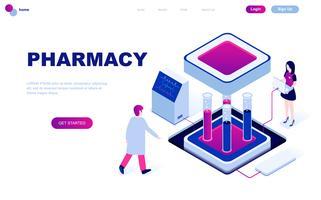 Modern plandesign isometrisk koncept av apotekare i apoteket