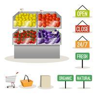 Supermarket frukt grönsaker vektor