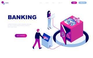 Modern plattform isometrisk koncept för Online Banking vektor