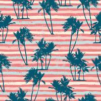 Seamless exotiskt mönster med tropiska växter och ränder bakgrund.