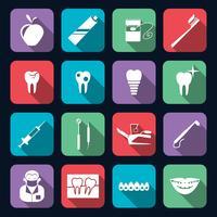 Zahnmedizinische Ikonen flach