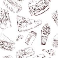 Fast Food-Skizze nahtlos vektor