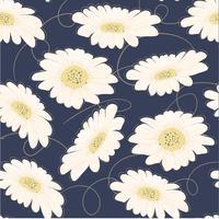 sömlös mönster handgjord vit tusensköna blomma vektor