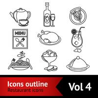 Restaurang Food Icons Outline vektor