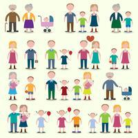 Familj ikoner inställda vektor
