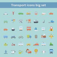 Sats med ikoner med platt transportfordon vektor