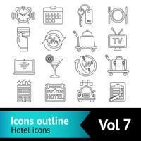 Hotell ikoner ställa in vektor