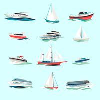 Båtar ikoner uppsättning