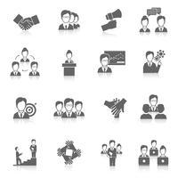 Teamwork ikoner svart vektor