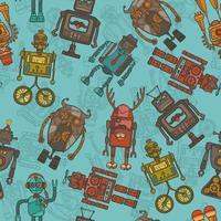 Hipster robot färg sömlöst mönster