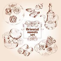 Orientalisk sötsaker skiss set
