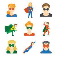 Superhjälte ikon platt