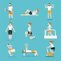 Människor gym övningar ikoner uppsättning vektor