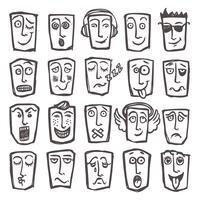 Skizzieren Sie Emoticons vektor