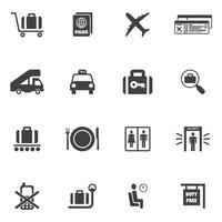 Flygplats ikoner Set vektor