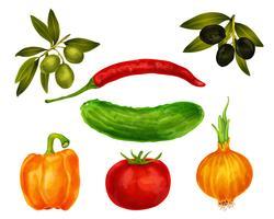 Grönsaker isolerade uppsättning vektor