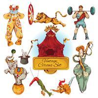 Cirkus vintage färgade ikoner uppsättning