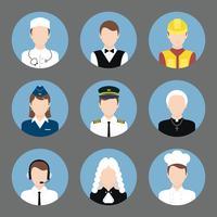 Professioner avatar platta ikoner uppsättning
