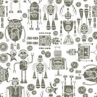 Nahtloses Muster des Hippie-Roboters Schwarzweiss