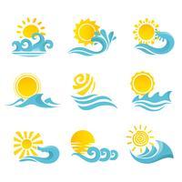 Vågor Sun Symboler Set