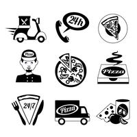 Pizza ikoner sätta svart och vitt
