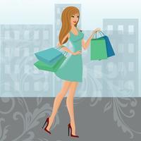 Einkaufenmädchen städtisch vektor