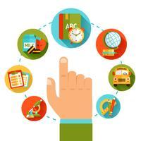 Bildung Handkonzept vektor
