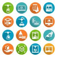 Icons des Druckers 3d vektor