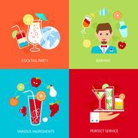 Cocktail ikoner uppsättning