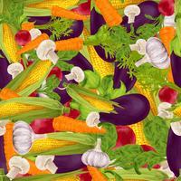 Grönsaker realistisk sömlös bakgrund vektor