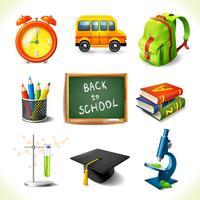 Realistiska skolundervisning ikoner uppsättning