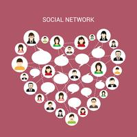 Socialt nätverk hjärta vektor