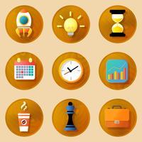 Trä affärer ikoner uppsättning
