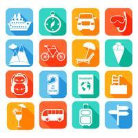 Reisen Sie flache Icons Set