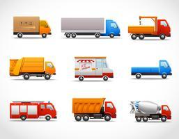 Realistiska lastbilikoner vektor