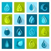 Vatten droppar ikoner