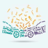 Autounfall-Ikonen-Konzept