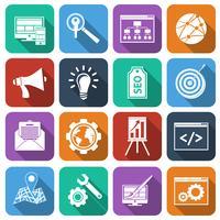 SEO ikoner platt uppsättning