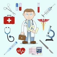 Läkare karaktär med medicin ikoner