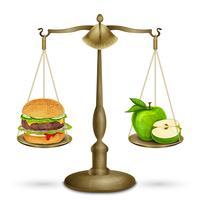 Hamburger och äpple på skalor