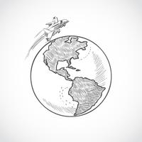 Flugzeug Icons Globus
