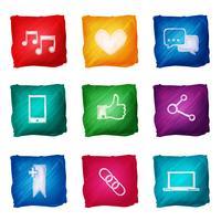 Sociala medier ikoner akvarell vektor