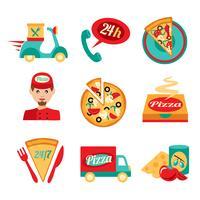 pizza snabb leverans ikoner uppsättning