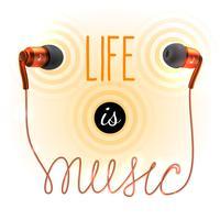 Hörlurar med musikbokstäver vektor
