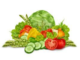 Grönsaker blandas på vitt