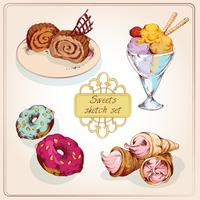 Süßigkeiten Skizze Farbsatz
