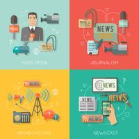 Massmedia koncept platt affärssammansättning