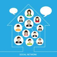 Socialt nätverk hus vektor