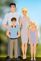 Lycklig familj utomhus