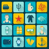 Dykning ikoner Set